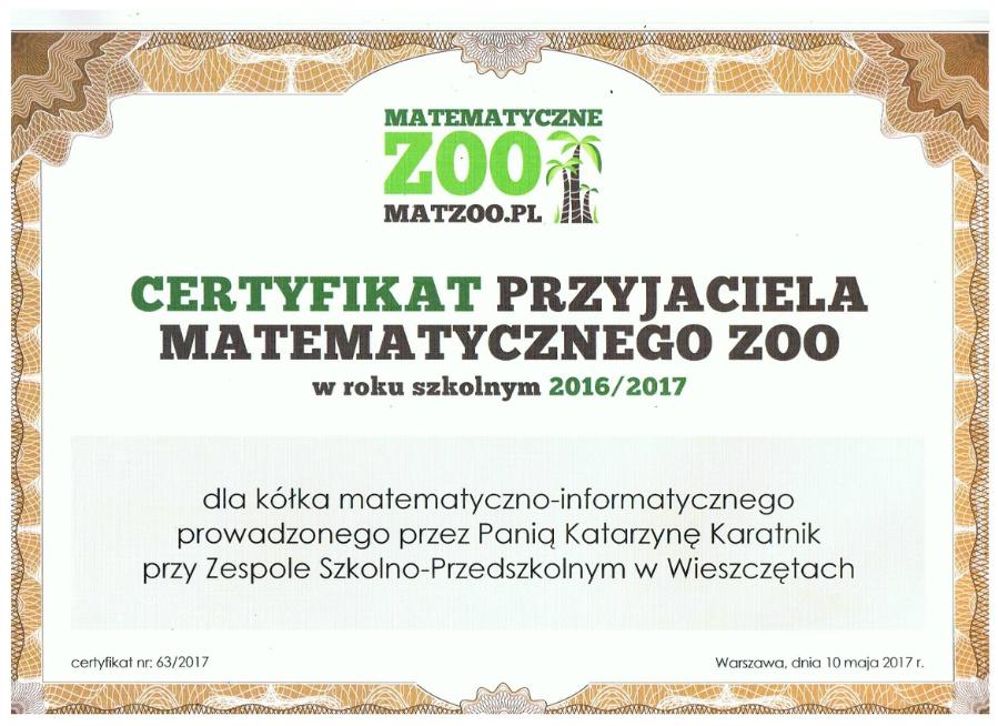Certyfikat dla Koła Matematycznego