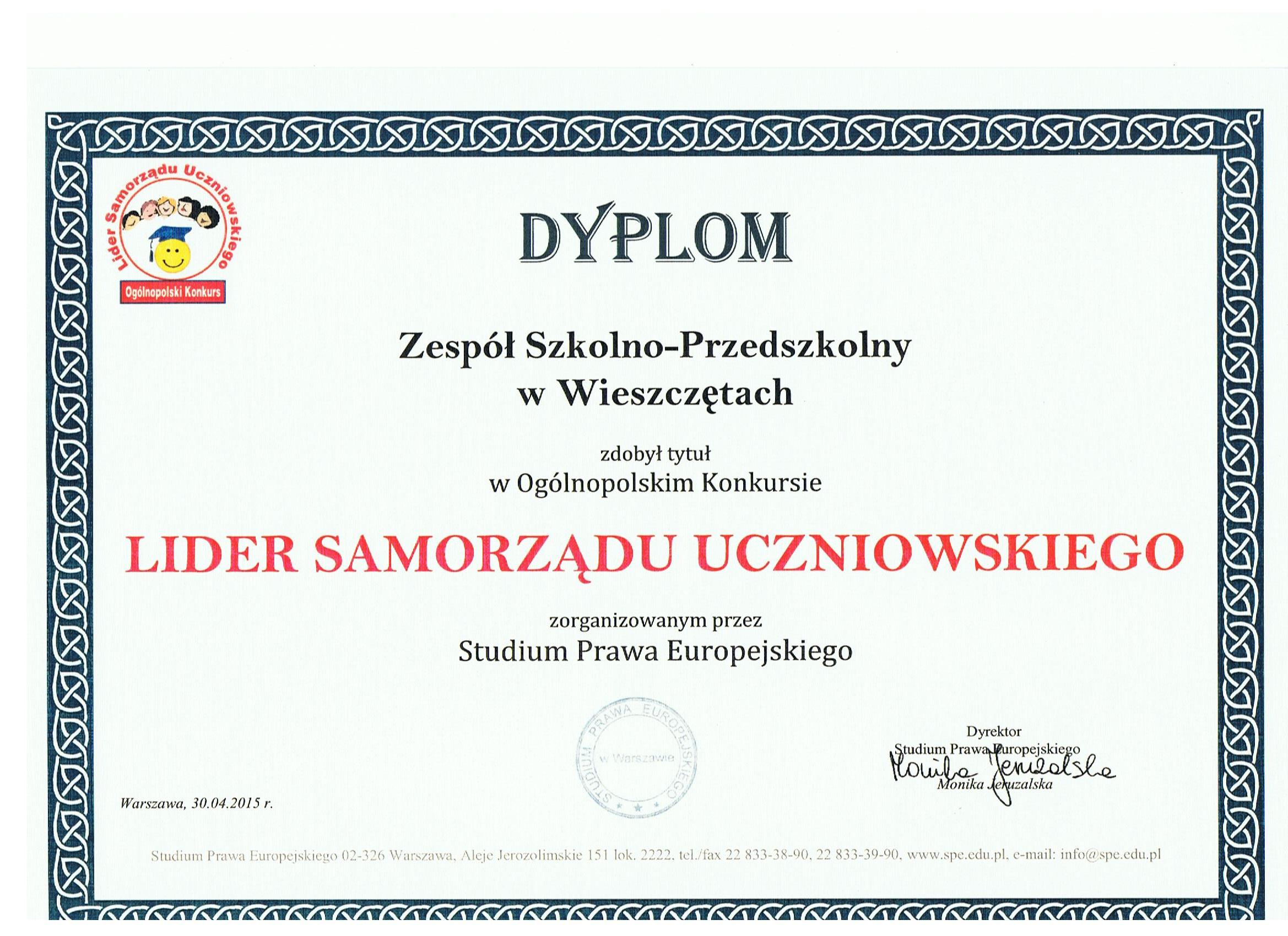 Certyfikat dla Samorządu Uczniowskiego