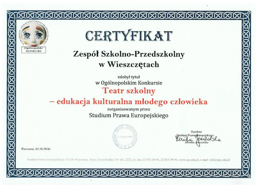 Certyfikat dla Koła Teatralnego